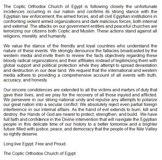 Translation of Coptic Church statement