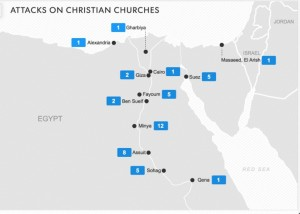 Map of burnt Christian churches as for 16 August 2013