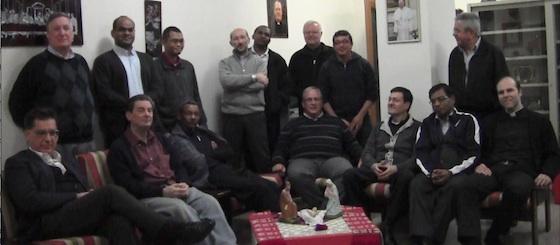 In the picture: (sitting, L to R) Fr. Javier Alvarez, Fr. John Maher, Fr. Zeracristos Yosief, Fr. Gregory Gay, Fr. Giuseppe Turati, Fr. Matthew Kallammakal, Fr. Thomas Lunot. (Standing L to R) Fr. Joseph Geders, Fr. Shijo Kanjirathamkunnel, Fr. Augustinus Heru, Fr. Giuseppe Carulli, Bro. Leopold Myamba, Fr. Stanislav Zontak, Fr. Juventinio Castillero, Fr. Eli Chaves