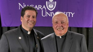 Fr. john Sledziona, C.M. and Fr. James Maher, C.M. (left), President of Niagara University